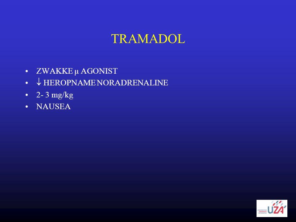 TRAMADOL •ZWAKKE µ AGONIST •  HEROPNAME NORADRENALINE •2- 3 mg/kg •NAUSEA