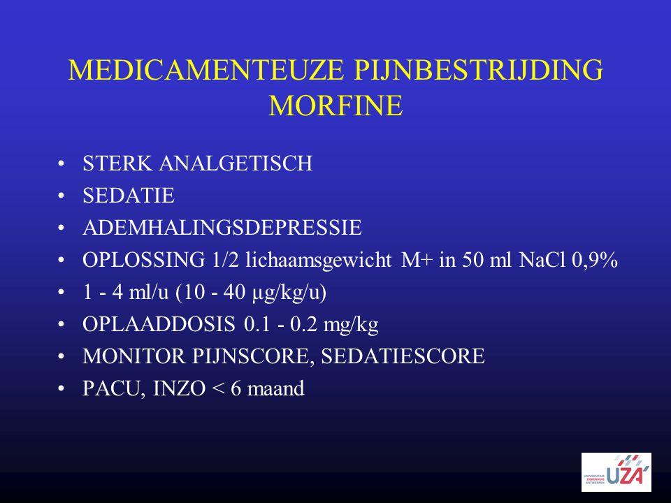 MEDICAMENTEUZE PIJNBESTRIJDING MORFINE •STERK ANALGETISCH •SEDATIE •ADEMHALINGSDEPRESSIE •OPLOSSING 1/2 lichaamsgewicht M+ in 50 ml NaCl 0,9% •1 - 4 m