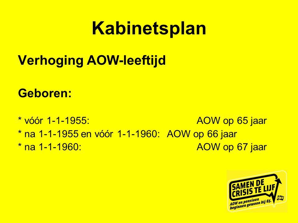 Kabinetsplan Verhoging AOW-leeftijd Geboren: * vóór 1-1-1955: AOW op 65 jaar * na 1-1-1955 en vóór 1-1-1960: AOW op 66 jaar * na 1-1-1960:AOW op 67 ja