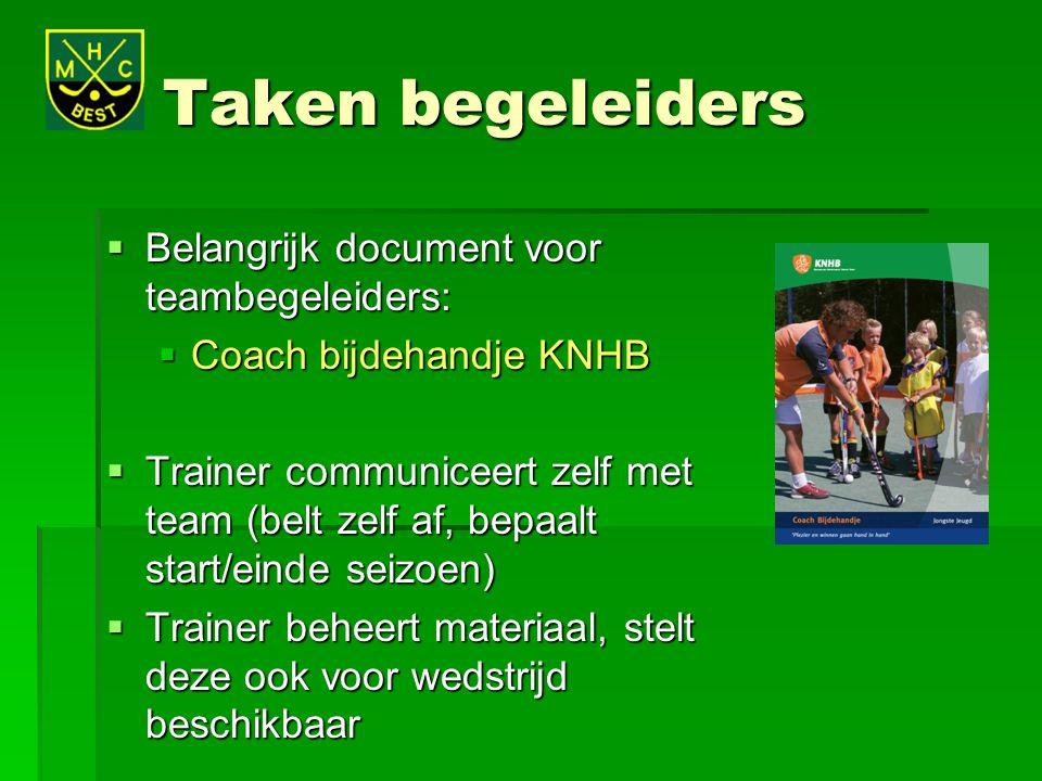 Taken begeleiders  Belangrijk document voor teambegeleiders:  Coach bijdehandje KNHB  Trainer communiceert zelf met team (belt zelf af, bepaalt sta