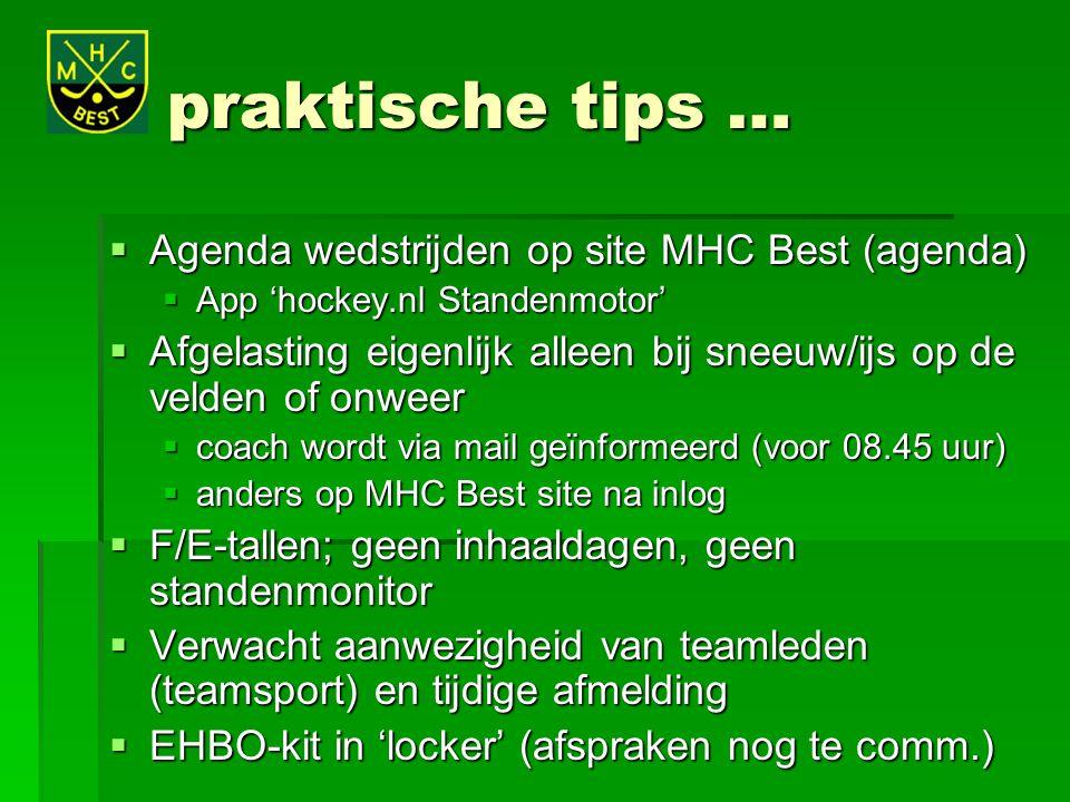 praktische tips …  Agenda wedstrijden op site MHC Best (agenda)  App 'hockey.nl Standenmotor'  Afgelasting eigenlijk alleen bij sneeuw/ijs op de ve