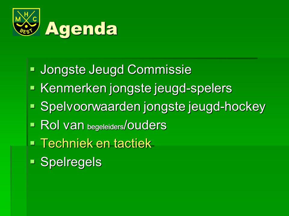 Agenda  Jongste Jeugd Commissie  Kenmerken jongste jeugd-spelers  Spelvoorwaarden jongste jeugd-hockey  Rol van begeleiders /ouders  Techniek en