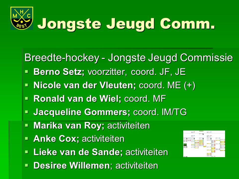 Jongste Jeugd Comm. Breedte-hockey - Jongste Jeugd Commissie  Berno Setz; voorzitter, coord. JF, JE  Nicole van der Vleuten; coord. ME (+)  Ronald