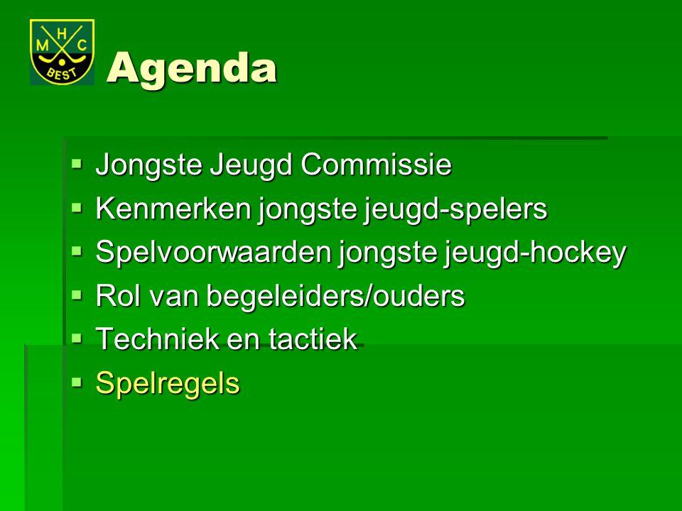 Agenda  Jongste Jeugd Commissie  Kenmerken jongste jeugd-spelers  Spelvoorwaarden jongste jeugd-hockey  Rol van begeleiders/ouders  Techniek en t