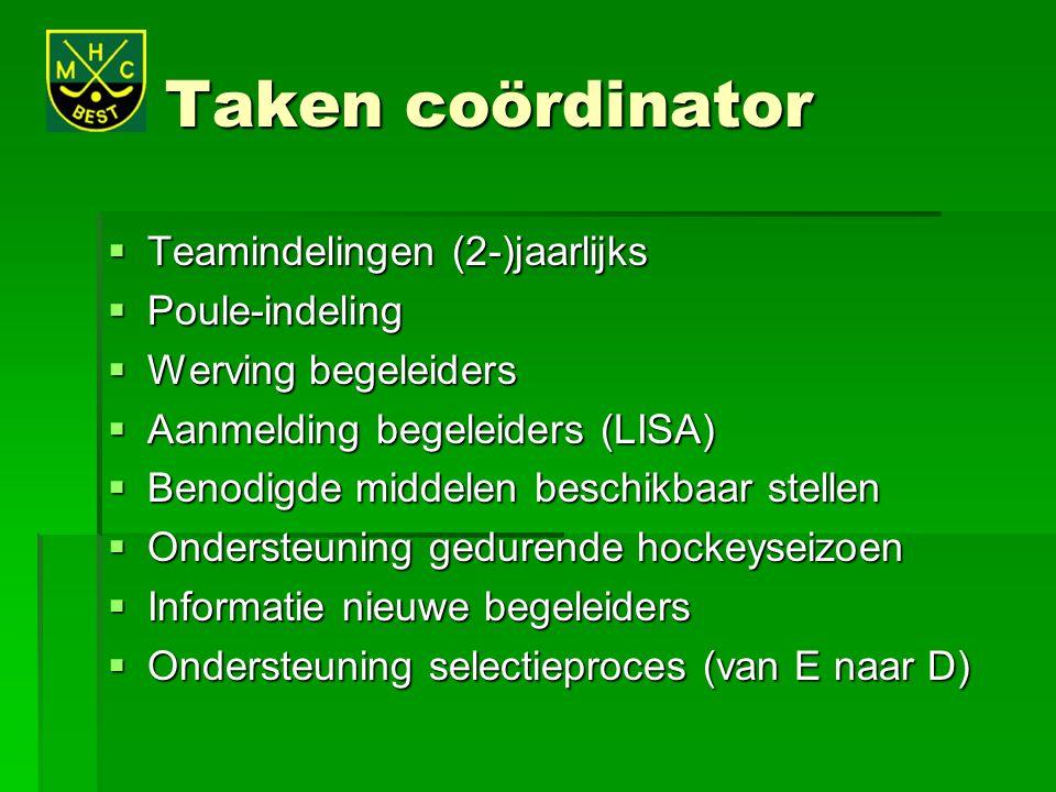 Taken coördinator  Teamindelingen (2-)jaarlijks  Poule-indeling  Werving begeleiders  Aanmelding begeleiders (LISA)  Benodigde middelen beschikba