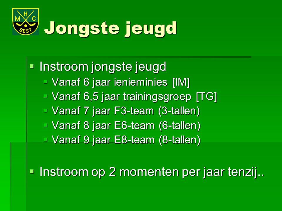 Jongste jeugd  Instroom jongste jeugd  Vanaf 6 jaar ienieminies [IM]  Vanaf 6,5 jaar trainingsgroep [TG]  Vanaf 7 jaar F3-team (3-tallen)  Vanaf