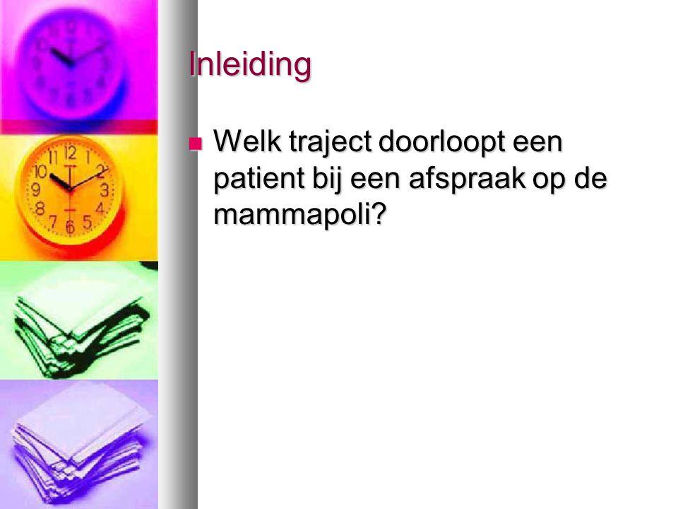 Inleiding  Welk traject doorloopt een patient bij een afspraak op de mammapoli?
