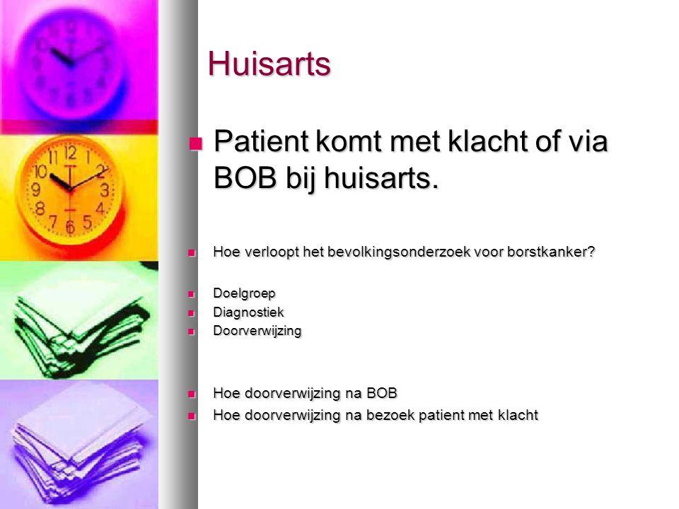 Huisarts Huisarts  Patient komt met klacht of via BOB bij huisarts.  Hoe verloopt het bevolkingsonderzoek voor borstkanker?  Doelgroep  Diagnostie