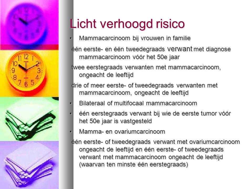 Licht verhoogd risico Licht verhoogd risico 40-50j : Jaarlijks mammogram 40-50j : Jaarlijks mammogram 50-70 j: 2-jaarlijks mammo 50-70 j: 2-jaarlijks mammo