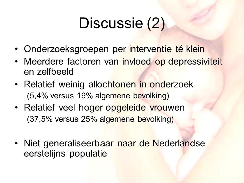 19 Discussie (2) •Onderzoeksgroepen per interventie té klein •Meerdere factoren van invloed op depressiviteit en zelfbeeld •Relatief weinig allochtonen in onderzoek (5,4% versus 19% algemene bevolking) •Relatief veel hoger opgeleide vrouwen (37,5% versus 25% algemene bevolking) •Niet generaliseerbaar naar de Nederlandse eerstelijns populatie