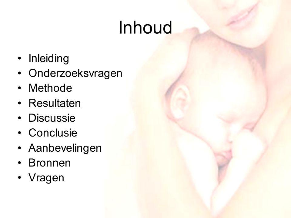 3 Inleiding •Deelonderzoek van WEE.nl •Reden van dit onderzoek –Weinig onderzoek gedaan naar ervaringen van vrouwen rondom zwangerschap, baring en kraambed –Interesse of de plaats van eerste lijns bevalling van invloed is op de mate van depressie en zelfbeeld van de vrouw drie jaar na de bevalling.