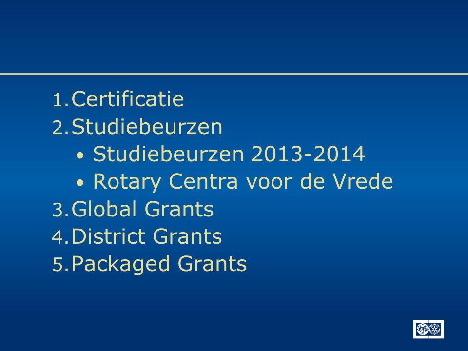 1. Certificatie 2. Studiebeurzen • Studiebeurzen 2013-2014 • Rotary Centra voor de Vrede 3. Global Grants 4. District Grants 5. Packaged Grants