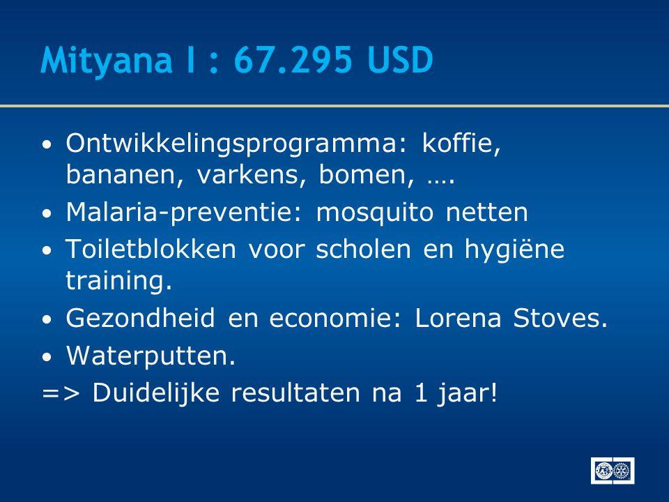 Mityana I : 67.295 USD • Ontwikkelingsprogramma: koffie, bananen, varkens, bomen, …. • Malaria-preventie: mosquito netten • Toiletblokken voor scholen