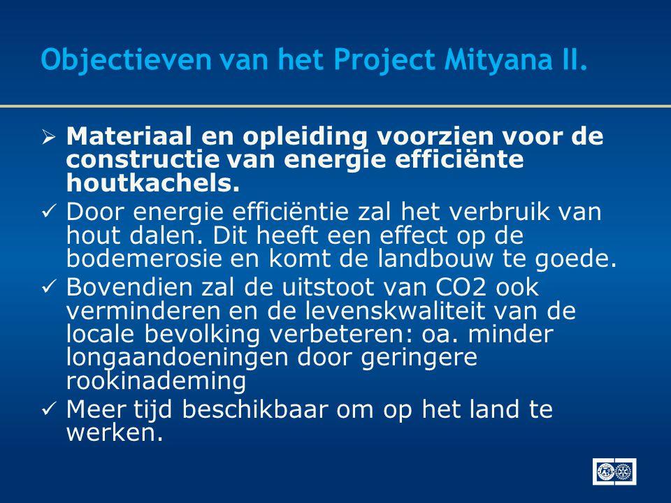 Objectieven van het Project Mityana II.  Materiaal en opleiding voorzien voor de constructie van energie efficiënte houtkachels.  Door energie effic
