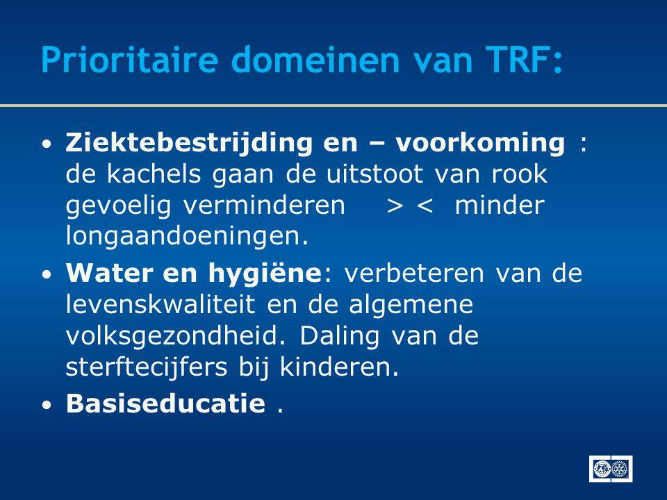 Prioritaire domeinen van TRF: • Ziektebestrijding en – voorkoming : de kachels gaan de uitstoot van rook gevoelig verminderen > < minder longaandoeningen.