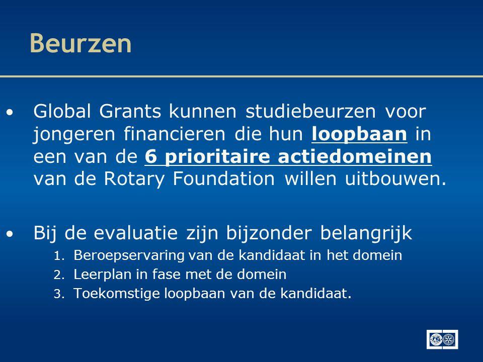 Beurzen • Global Grants kunnen studiebeurzen voor jongeren financieren die hun loopbaan in een van de 6 prioritaire actiedomeinen van de Rotary Foundation willen uitbouwen.