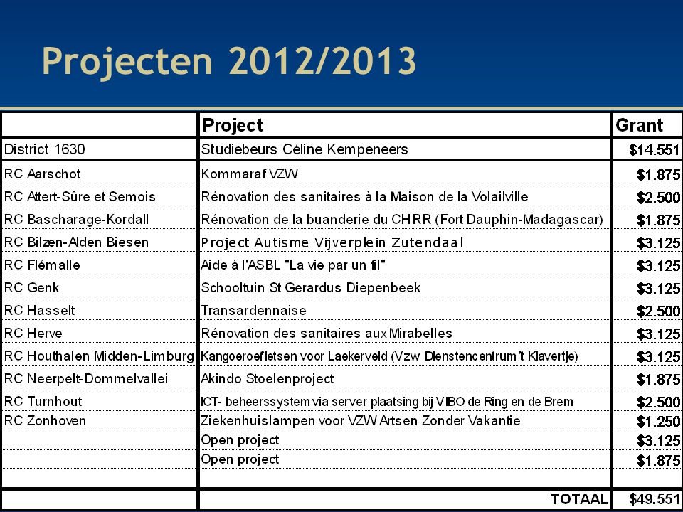 Projecten 2012/2013