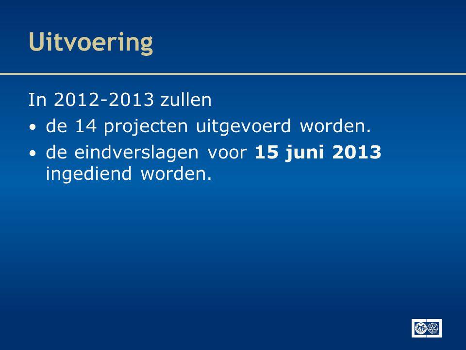 Uitvoering In 2012-2013 zullen • de 14 projecten uitgevoerd worden. • de eindverslagen voor 15 juni 2013 ingediend worden.