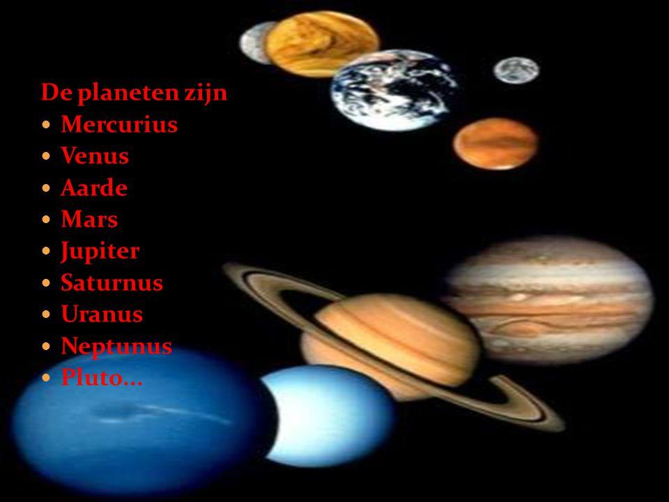 De planeten zijn  Mercurius  Venus  Aarde  Mars  Jupiter  Saturnus  Uranus  Neptunus  Pluto...