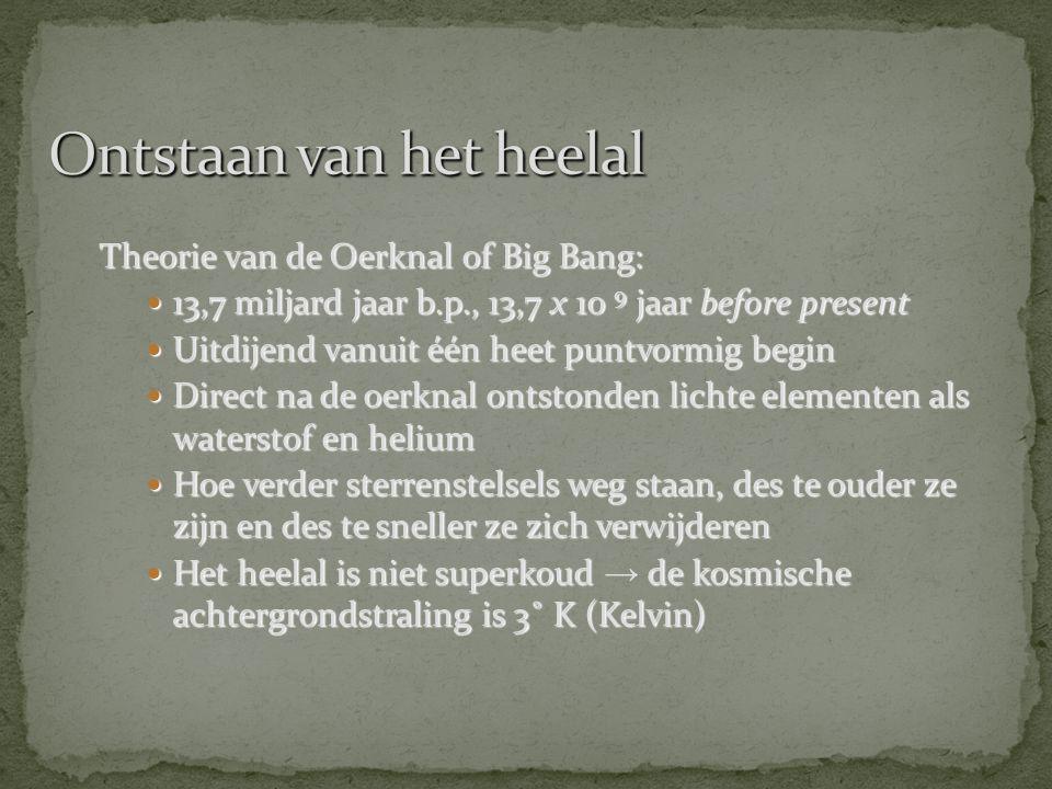 Theorie van de Oerknal of Big Bang:  13,7 miljard jaar b.p., 13,7 x 10 9 jaar before present  Uitdijend vanuit één heet puntvormig begin  Direct na