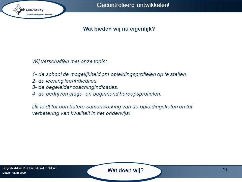 11 Opgesteld door: P.G. ten Haken & H. Stikker Datum: maart 2009 Wat bieden wij nu eigenlijk.