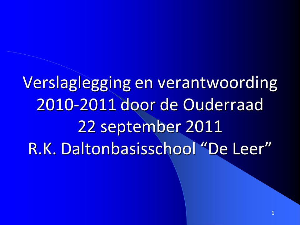 """1 Verslaglegging en verantwoording 2010-2011 door de Ouderraad 22 september 2011 R.K. Daltonbasisschool """"De Leer"""""""
