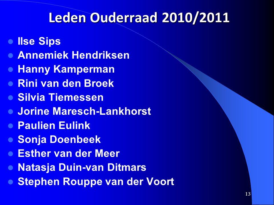 13 Leden Ouderraad 2010/2011  Ilse Sips  Annemiek Hendriksen  Hanny Kamperman  Rini van den Broek  Silvia Tiemessen  Jorine Maresch-Lankhorst 