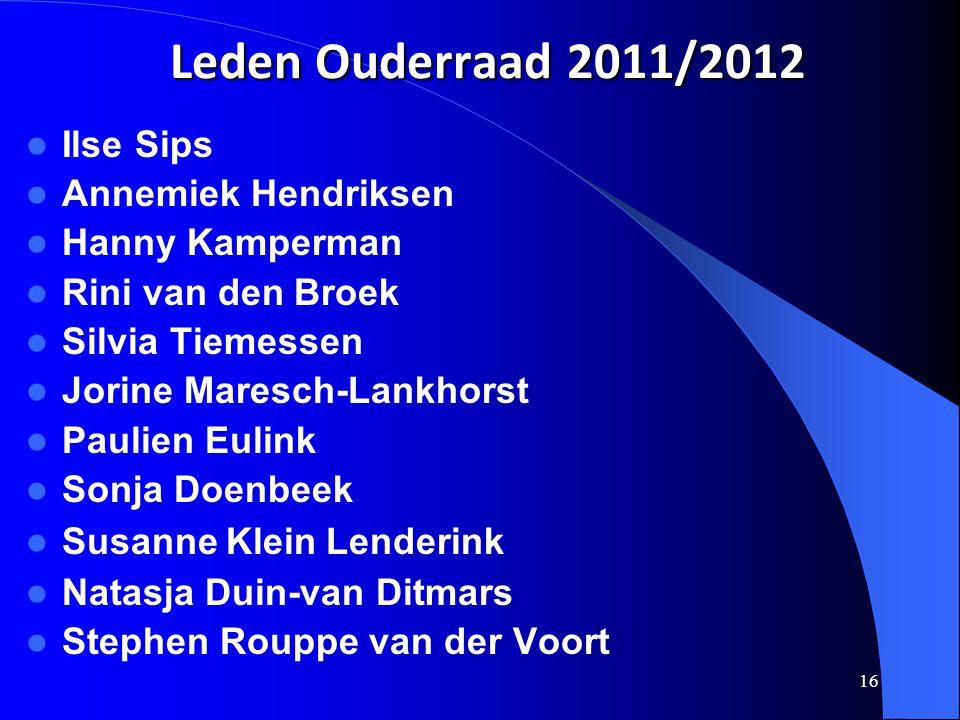 16 Leden Ouderraad 2011/2012  Ilse Sips  Annemiek Hendriksen  Hanny Kamperman  Rini van den Broek  Silvia Tiemessen  Jorine Maresch-Lankhorst 
