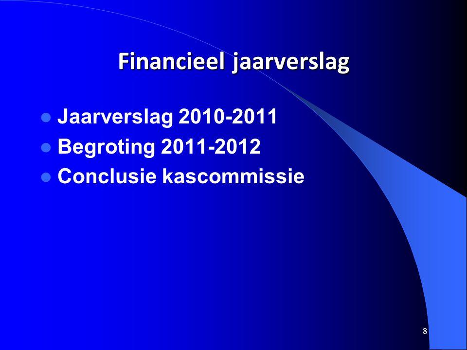 8 Financieel jaarverslag  Jaarverslag 2010-2011  Begroting 2011-2012  Conclusie kascommissie
