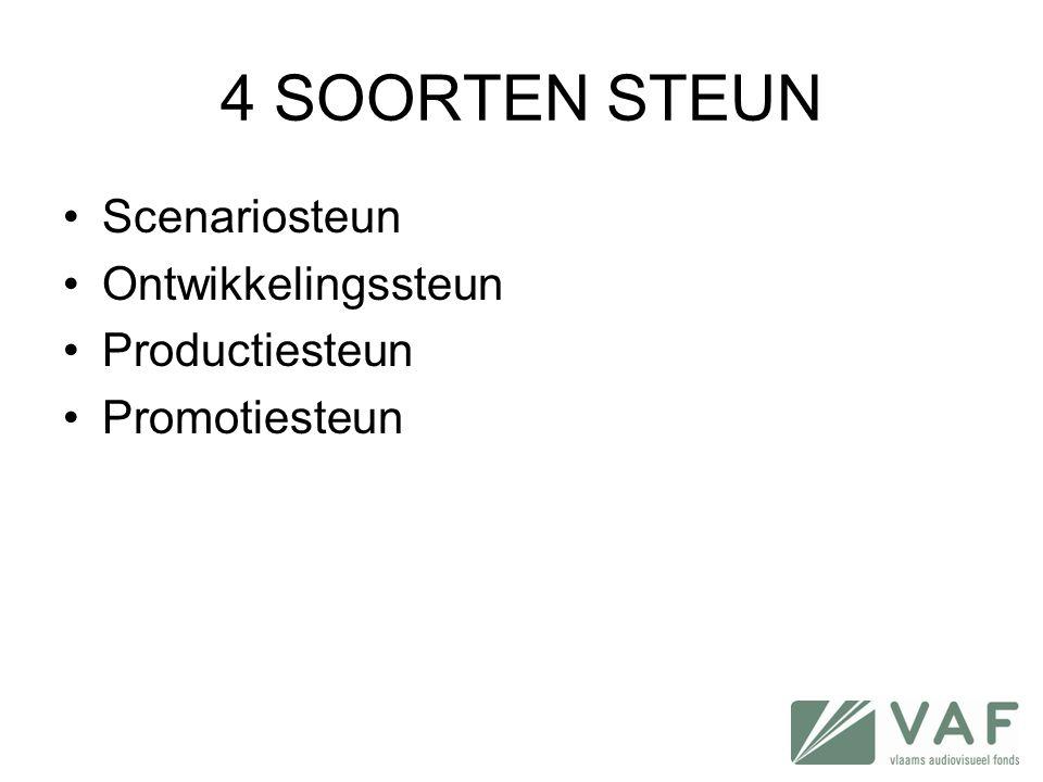 4 SOORTEN STEUN •Scenariosteun •Ontwikkelingssteun •Productiesteun •Promotiesteun