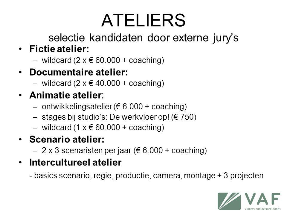 ATELIERS selectie kandidaten door externe jury's •Fictie atelier: –wildcard (2 x € 60.000 + coaching) •Documentaire atelier: –wildcard (2 x € 40.000 +