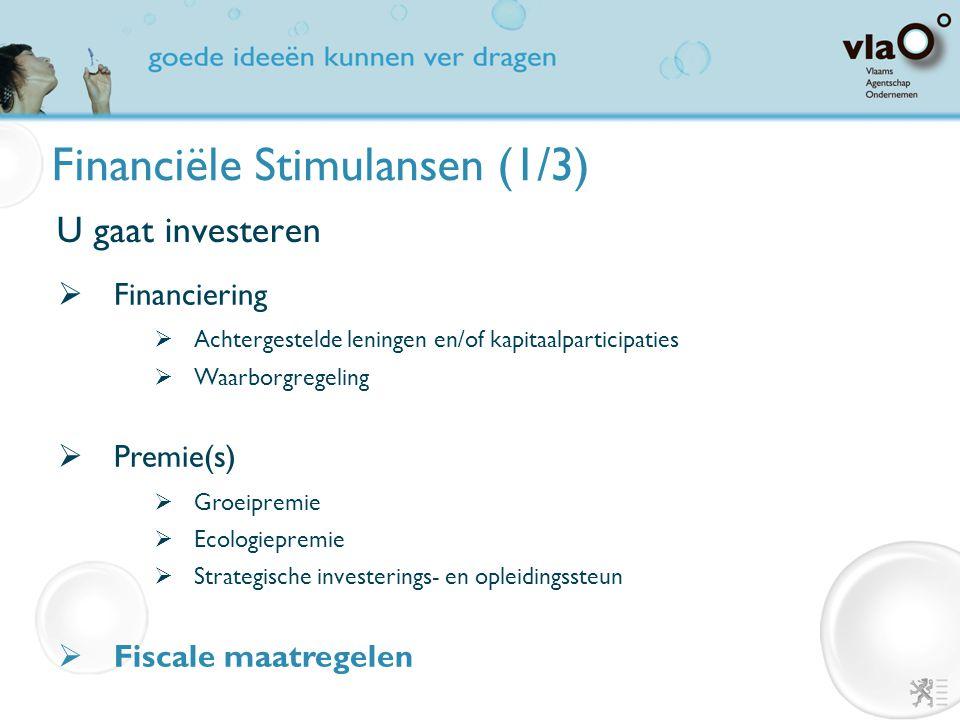 Financiële Stimulansen (1/3) U gaat investeren  Financiering  Achtergestelde leningen en/of kapitaalparticipaties  Waarborgregeling  Premie(s)  G
