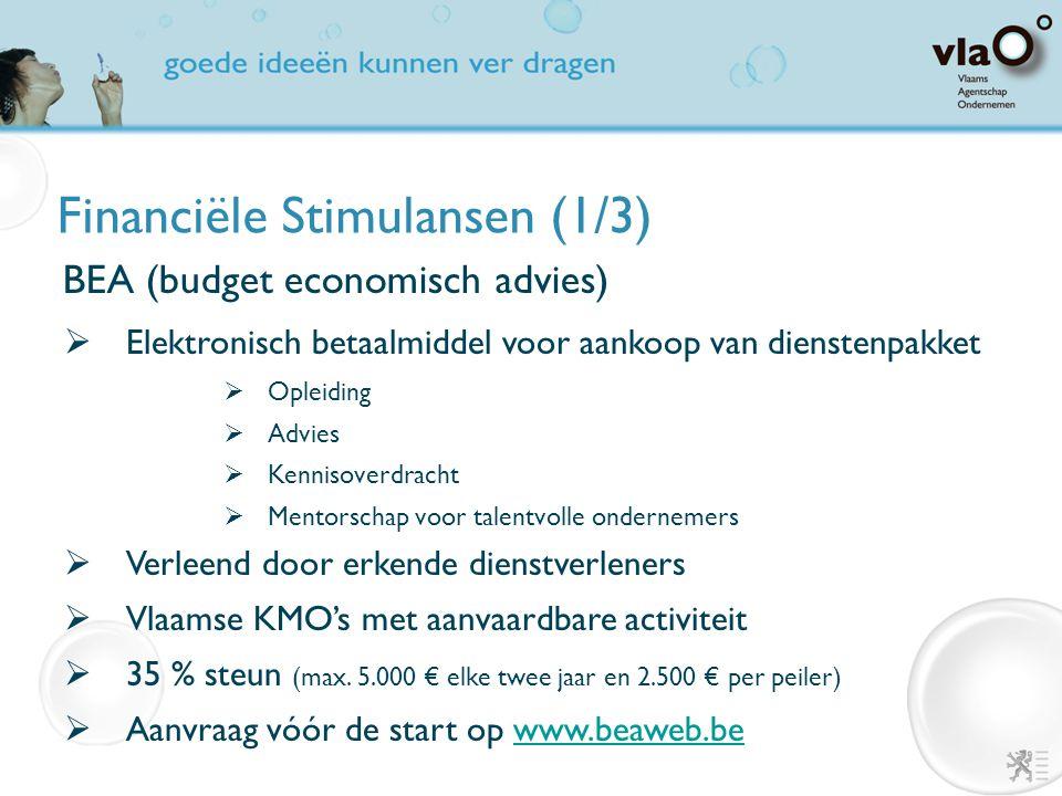 Financiële Stimulansen (1/3) BEA (budget economisch advies)  Elektronisch betaalmiddel voor aankoop van dienstenpakket  Opleiding  Advies  Kenniso
