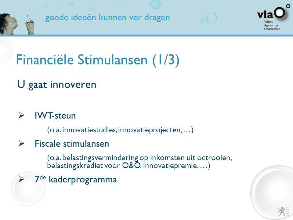 Financiële Stimulansen (1/3) U gaat innoveren  IWT-steun (o.a. innovatiestudies, innovatieprojecten, …)  Fiscale stimulansen (o.a. belastingsvermind