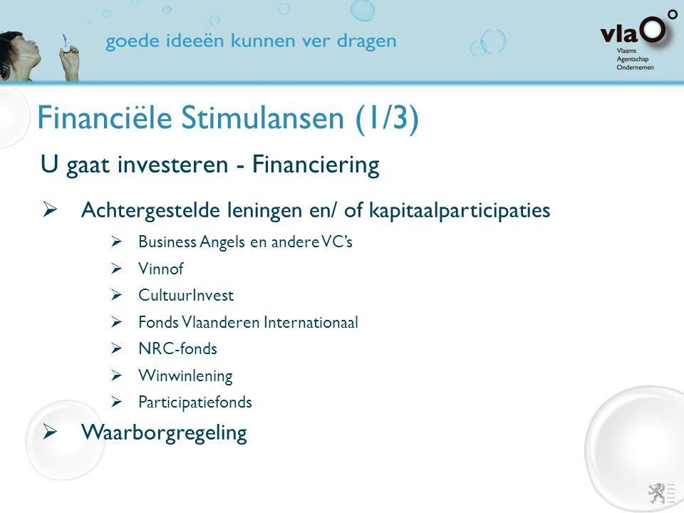 Financiële Stimulansen (1/3) U gaat investeren - Financiering  Achtergestelde leningen en/ of kapitaalparticipaties  Business Angels en andere VC's