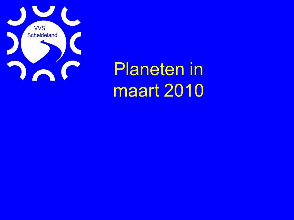 •Mercurius: 'begin april grootste oostelijke elengatie •Venus: boven westelijke horizon (samenstand Mercurius eind april) •Mars: gehele nacht zichtbaar in de Kreeft •Jupiter: vlakbij de zon •Saturnus: in oppositie 22 maart in Maagd •Uranus (Psc, m5.7) en Neptunus (Cap, m7.8) •Dwerg Pluto (Sgr, m14.2)