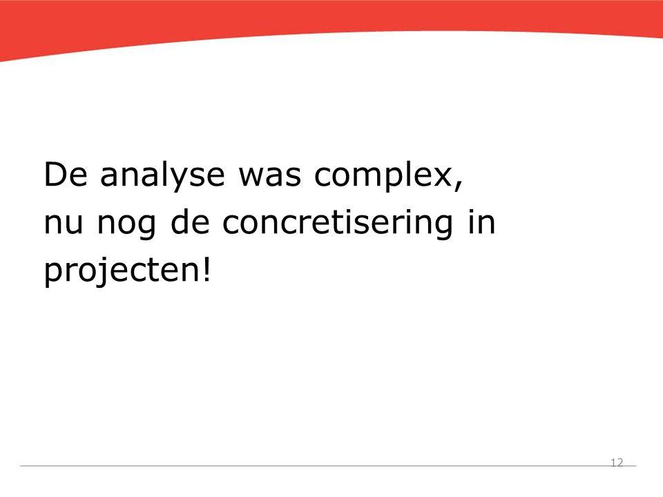 12 De analyse was complex, nu nog de concretisering in projecten!