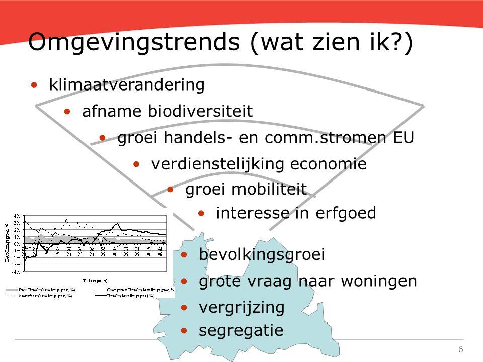 6 Omgevingstrends (wat zien ik?) •verdienstelijking economie •groei handels- en comm.stromen EU •groei mobiliteit •klimaatverandering •vergrijzing •se