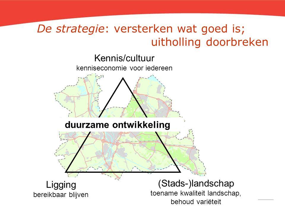 De strategie: versterken wat goed is; uitholling doorbreken Kennis/cultuur kenniseconomie voor iedereen Ligging bereikbaar blijven (Stads-)landschap t