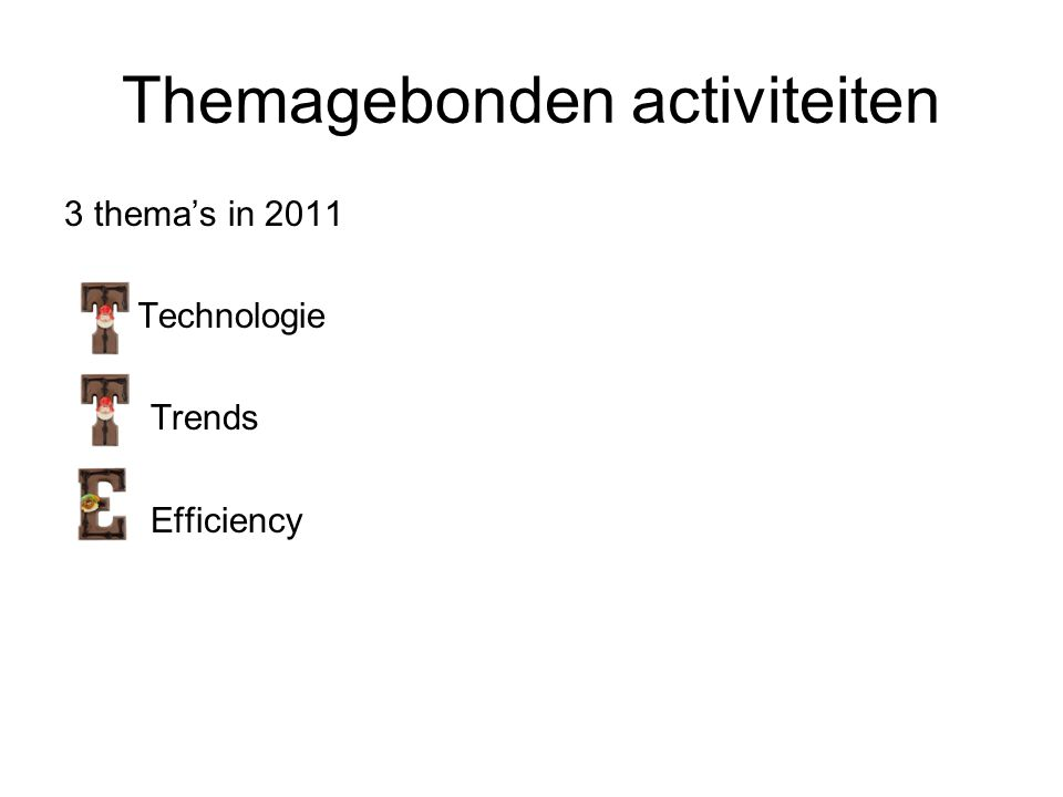 Themagebonden activiteiten 3 thema's in 2011 Technologie Trends Efficiency