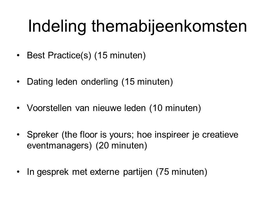 Indeling themabijeenkomsten •Best Practice(s) (15 minuten) •Dating leden onderling (15 minuten) •Voorstellen van nieuwe leden (10 minuten) •Spreker (the floor is yours; hoe inspireer je creatieve eventmanagers) (20 minuten) •In gesprek met externe partijen (75 minuten)
