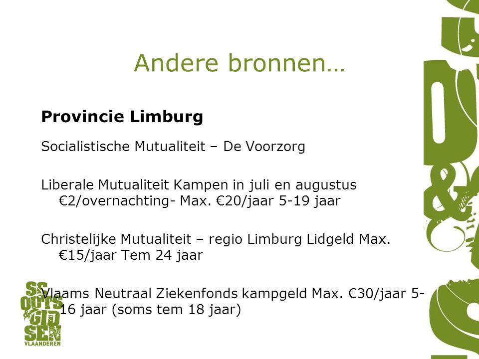 Andere bronnen… Provincie Limburg Socialistische Mutualiteit – De Voorzorg Liberale Mutualiteit Kampen in juli en augustus €2/overnachting- Max.