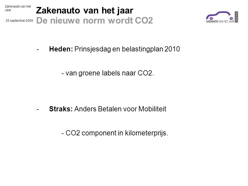 Zakenauto van het Jaar 30 september 2009 Zakenauto van het jaar De nieuwe norm wordt CO2 -Heden: Prinsjesdag en belastingplan 2010 - van groene labels naar CO2.