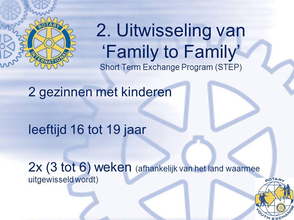 2. Uitwisseling van 'Family to Family' Short Term Exchange Program (STEP) 2 gezinnen met kinderen leeftijd 16 tot 19 jaar 2x (3 tot 6) weken (afhankel