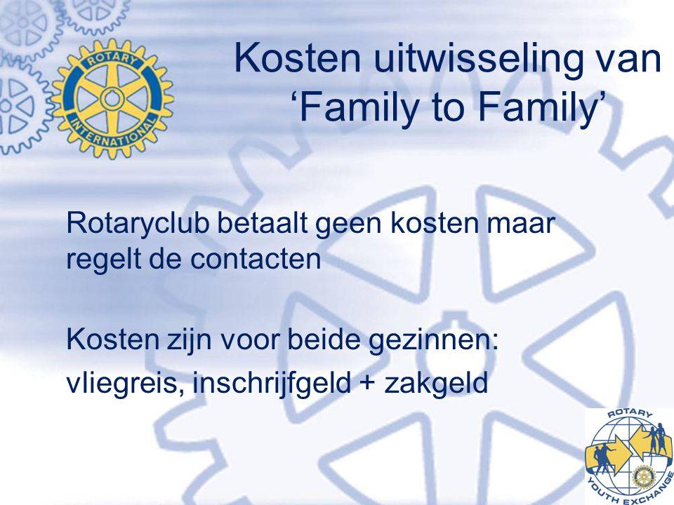 Kosten uitwisseling van 'Family to Family' Rotaryclub betaalt geen kosten maar regelt de contacten Kosten zijn voor beide gezinnen: vliegreis, inschrijfgeld + zakgeld