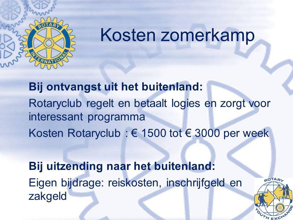 Kosten zomerkamp Bij ontvangst uit het buitenland: Rotaryclub regelt en betaalt logies en zorgt voor interessant programma Kosten Rotaryclub : € 1500