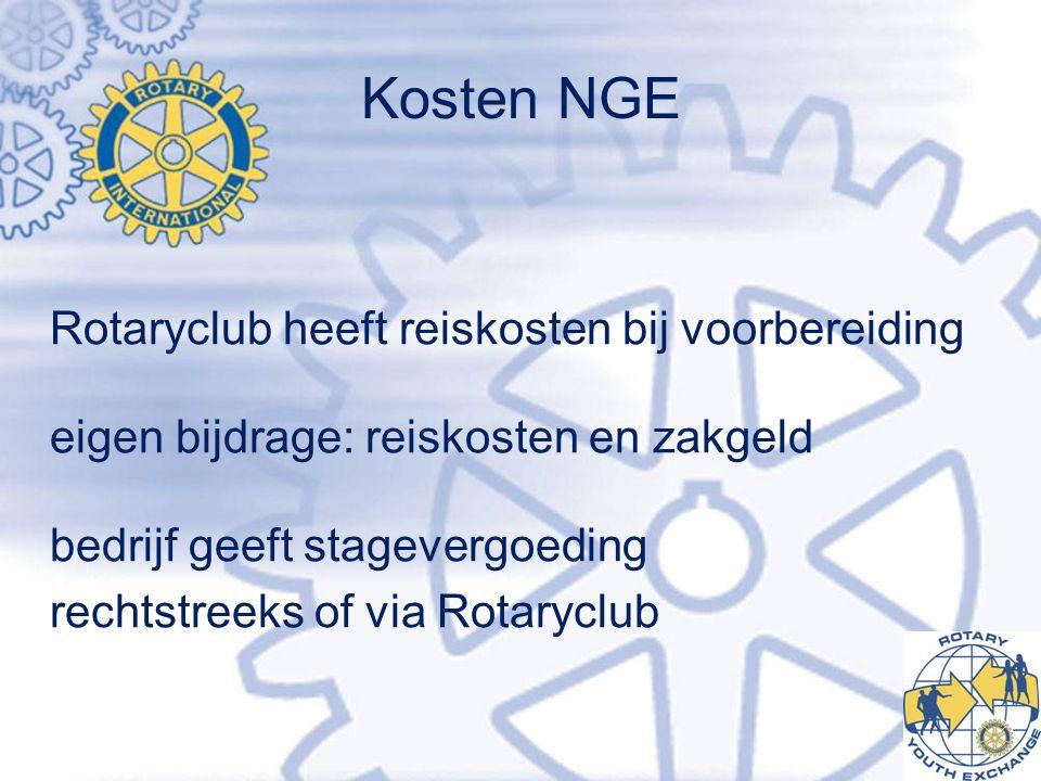 Kosten NGE Rotaryclub heeft reiskosten bij voorbereiding eigen bijdrage: reiskosten en zakgeld bedrijf geeft stagevergoeding rechtstreeks of via Rotaryclub