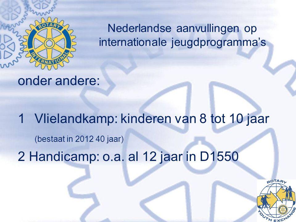 Nederlandse aanvullingen op internationale jeugdprogramma's onder andere: 1Vlielandkamp: kinderen van 8 tot 10 jaar (bestaat in 2012 40 jaar) 2Handicamp: o.a.