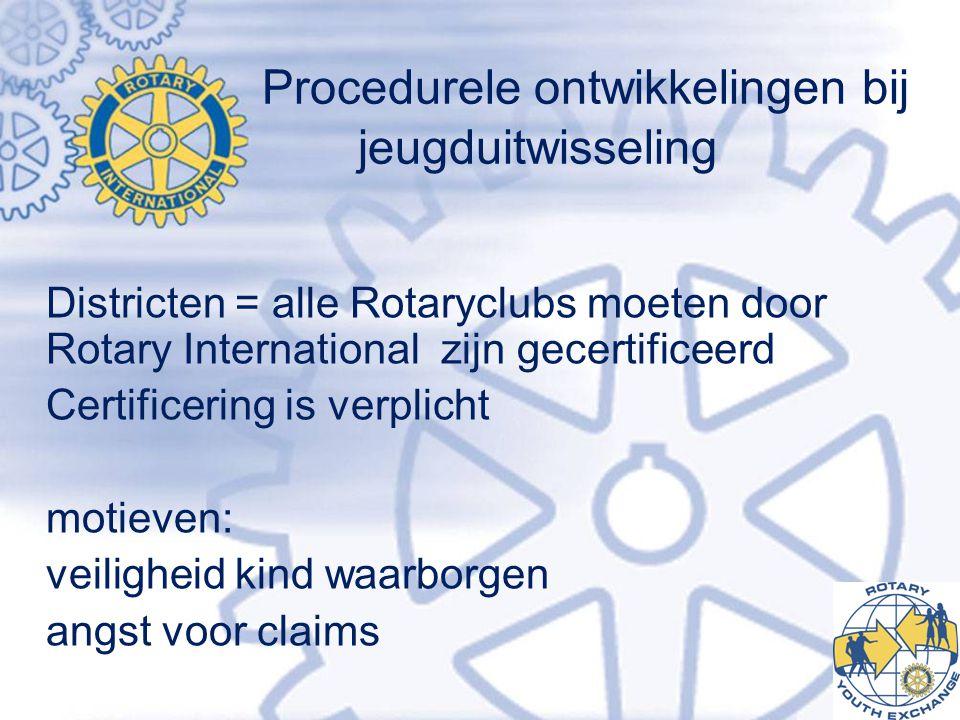 Procedurele ontwikkelingen bij jeugduitwisseling Districten = alle Rotaryclubs moeten door Rotary International zijn gecertificeerd Certificering is verplicht motieven: veiligheid kind waarborgen angst voor claims