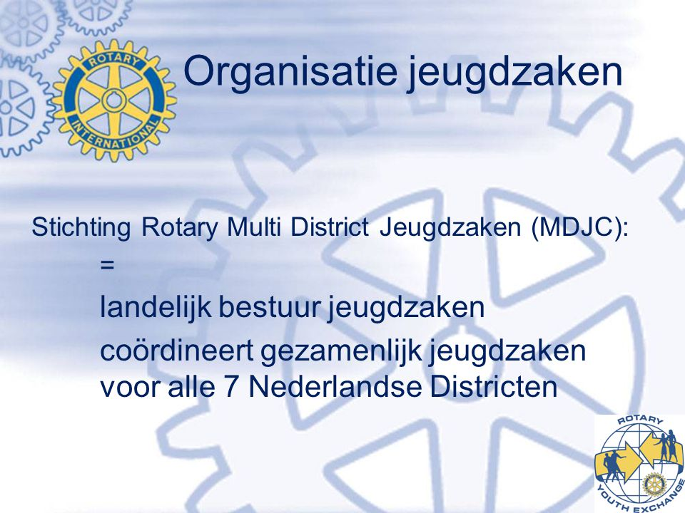 Organisatie jeugdzaken Stichting Rotary Multi District Jeugdzaken (MDJC): = landelijk bestuur jeugdzaken coördineert gezamenlijk jeugdzaken voor alle 7 Nederlandse Districten